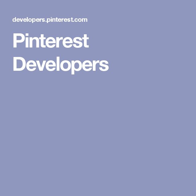 Pinterest Developers