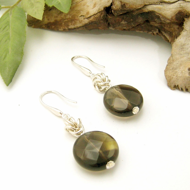 Smokey quartz and sterling silver chain maille earrings by Gemtation Jewellery
