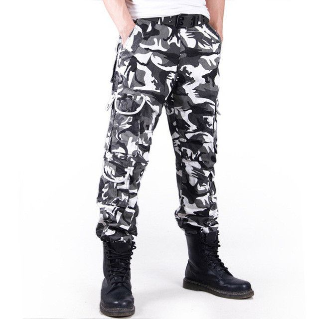 HEE GRAND Men Fashion Camouflage Pants Loose Style Cotton Material Multi-pockets Mid-waist Cargo Trousers