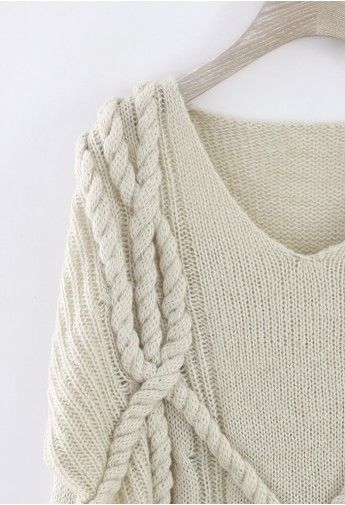 V-Neck Oversize Sweater in Ivory - LOVE this cable (inspiration)