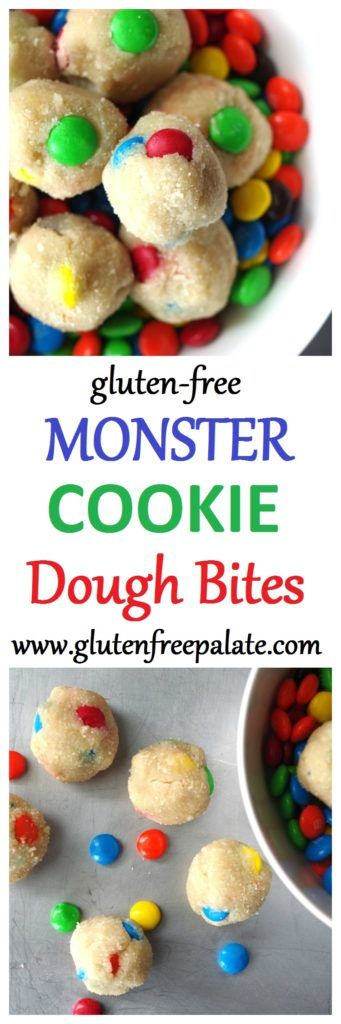 Gluten-Free Monster Cookie Dough Bites that are also egg-free with a dairy-free option. They are smooth, creamy, and add just the right amount of sweetness to satisfy any craving.