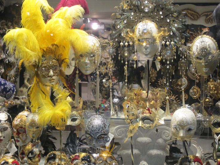 Masks on display in a shop in Venice, Italy.