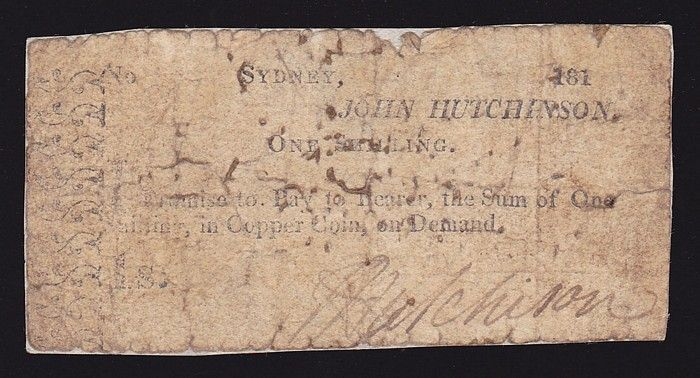 New South Wales: Hutchinson, John Sydney 1/- March 181(3) Promissory note (date not clear). Signed John Hutchinson. Fragile, small flt at top, has been backed G. Rare. See MVR Australian Colonial Currency & Promissory notes, 2nd ed, pg 27 (P) #Banknotes #Other #MADonC