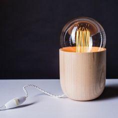 Lampe en bois design, vintage, fait main
