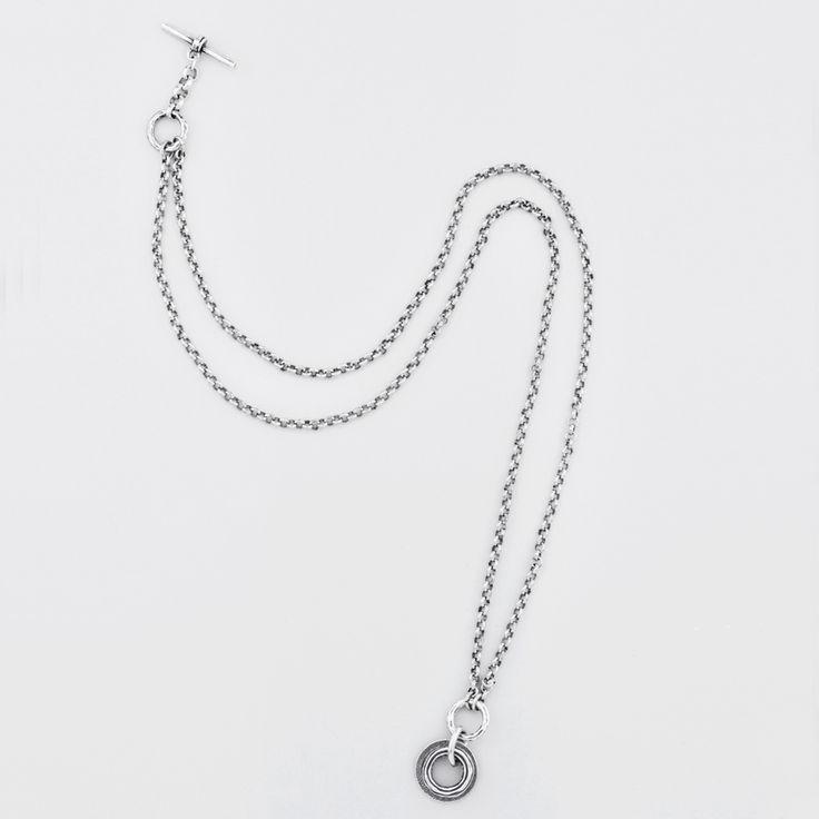 Miglio Designer Jewellery - Organic Versatile Burnished Silver Belcher Chain Necklace