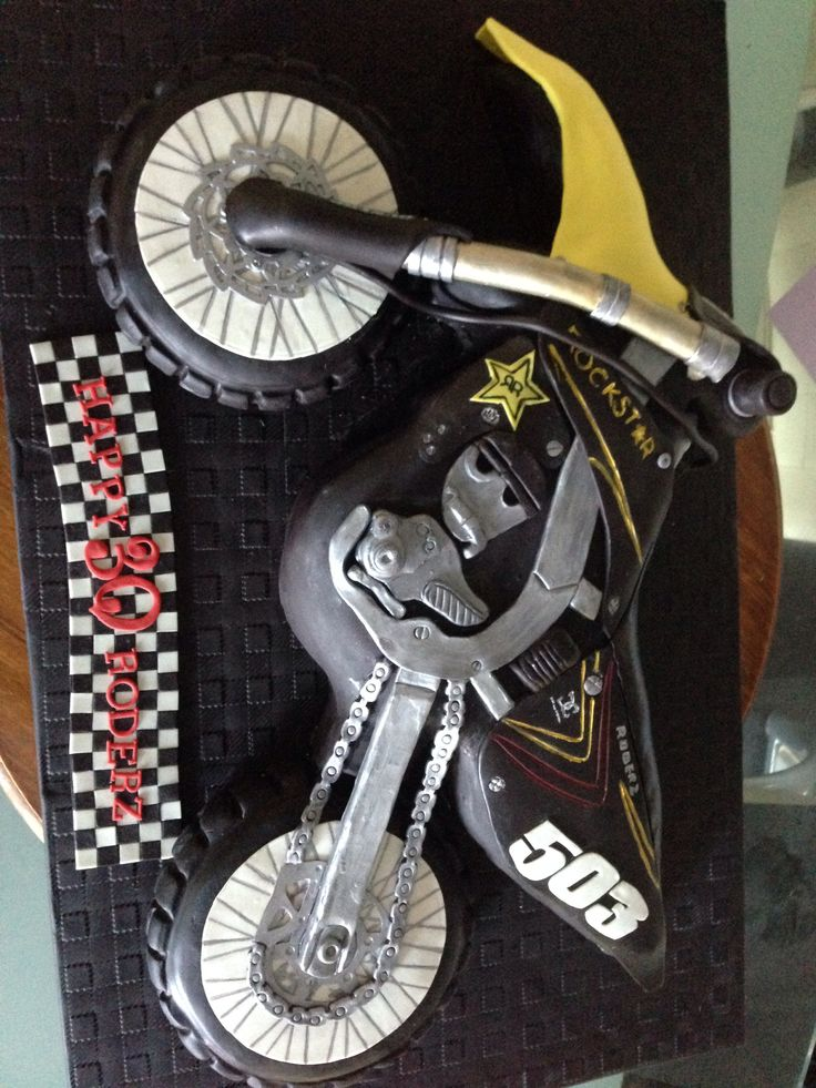 My first motorbike dirt-bike cake. Really happy with how it came up :) by Kristiana Watt @ L'amour Cakes
