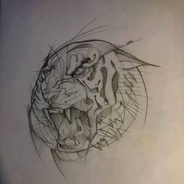 « Ptit dessin du soir et fortement tatouable #sketch #croquis #tigre #Tiger…
