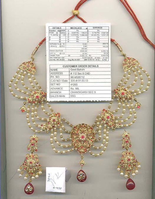 Light jodhpur jadai set by Anaha Boutique Chandigarh. Image was shared by the jeweller on their facebook page and has been sourced from there.