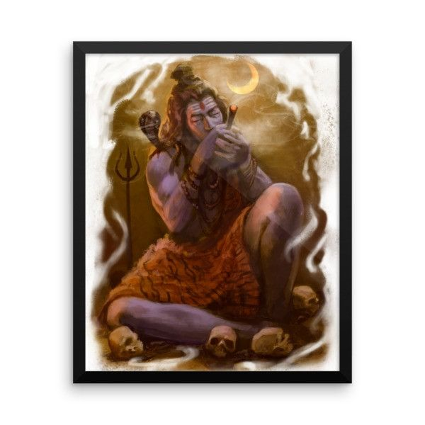 Shiva smoking chillum Framed Poster