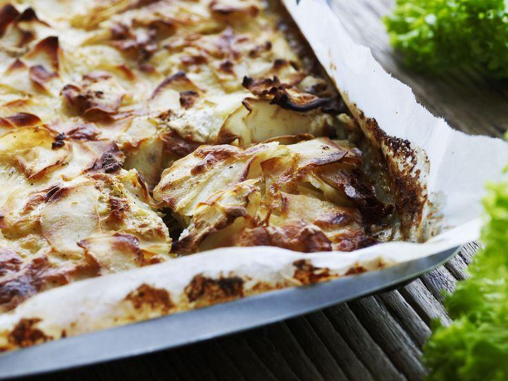 Kartoffel-sellerigratin med muskat