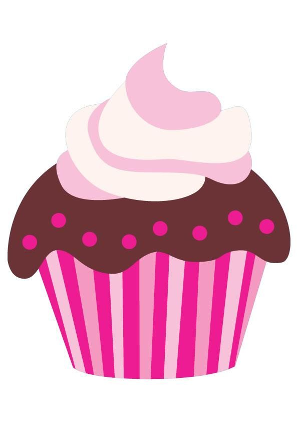 Cupcake Animated Images : Cute Pink Cartoon Chocolate Cupcake CLIP ART - CUPCAKES ...