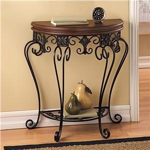 Walnut & Wrought Iron Half Moon Table | Lillian Vernon - Big Sale | Lillian Vernon