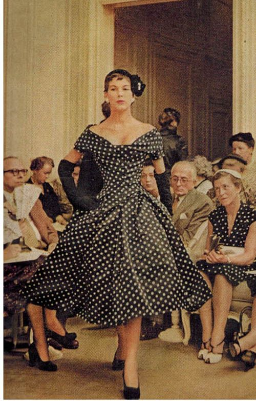 The polka dot dress was Dior's best selling 'New Look' dress in 1954.