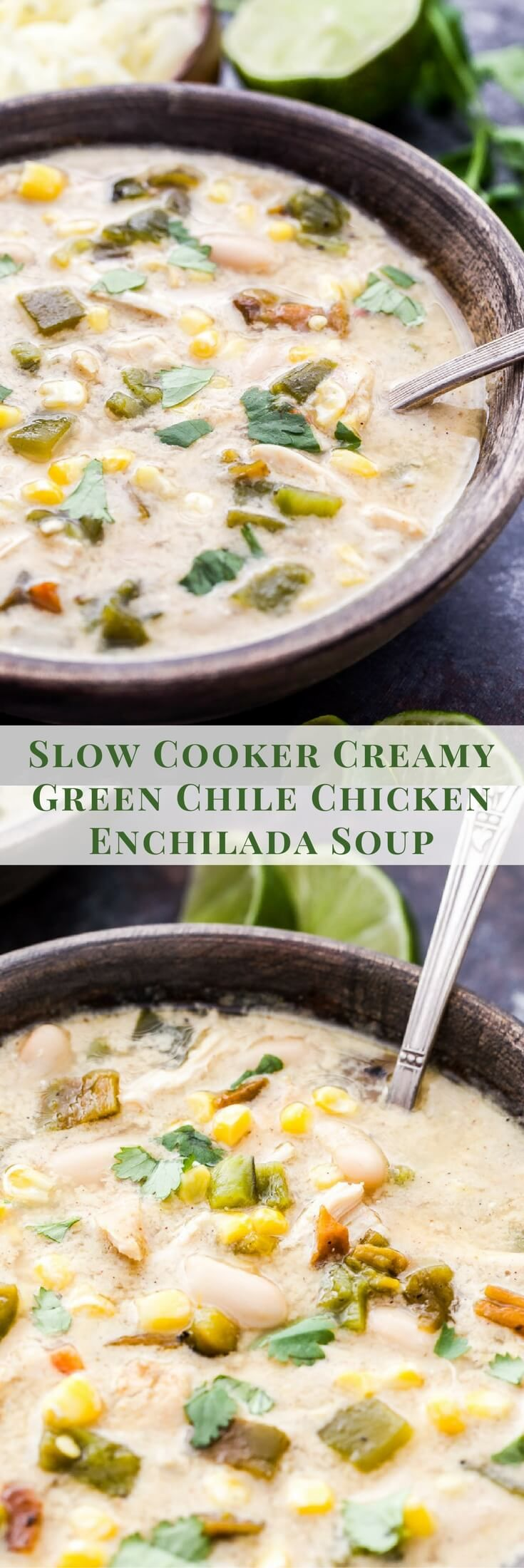 This Slow Cooker Creamy Green Chile Chicken Enchilada Soup has all the wonderful flavor of the enchiladas without all the work! Hearty, creamy, full of green chiles and totally satisfying! #soup #slowcooker #greenchiles #chicken #enchiladas #glutenfree #healthyrecipe