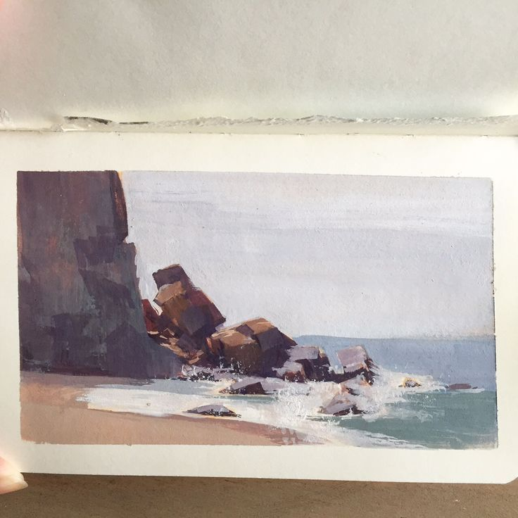 Alexandria Neonakis . . Gouache Pleine Air from Peter Chan and Arthur Fong's Tough Painter workshop I attended yesterday at Point Dume, Malibu. lately I only want to do traditional work. So I'm trying to practice and learn as much as I can. It was an awesome workshop!