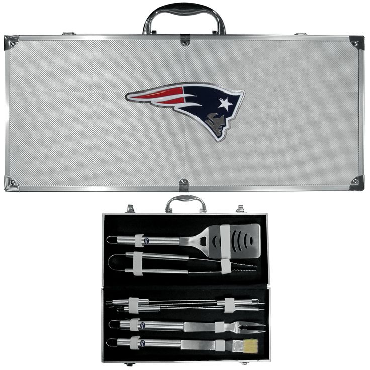 "Checkout our #LicensedGear products FREE SHIPPING + 10% OFF Coupon Code ""Official"" New England Patriots 8 pc Stainless Steel BBQ Set w/Metal Case - Officially licensed NFL product Licensee: Siskiyou Buckle Heavy duty 420 grade stainless steel tools 8 pc set includes: spatula, fork, tongs, basting brush and 4 skewers This quality set comes in a metal team carrying case New England Patriots emblems on the tools and large emblem on the case - Price: $79.00. Buy now at…"