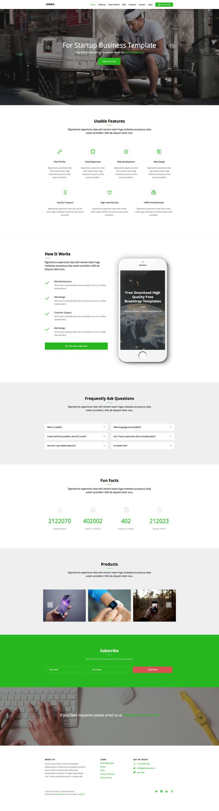 161 best free html5 templates images on pinterest free html usable is a free responsive bootstrap one page website template the perfect choice for application or product related websites it features video popup pronofoot35fo Gallery