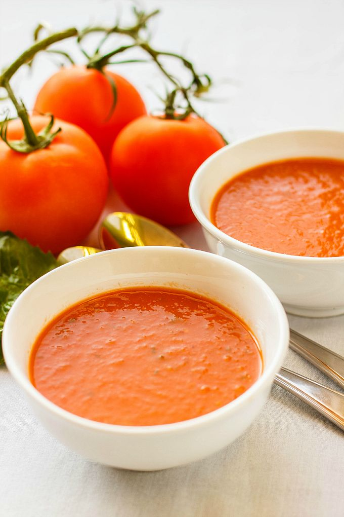 Roasted Tomato and Garlic Soup. The roasted head of garlic adds to much to this soup! #vegan and #glutenfree