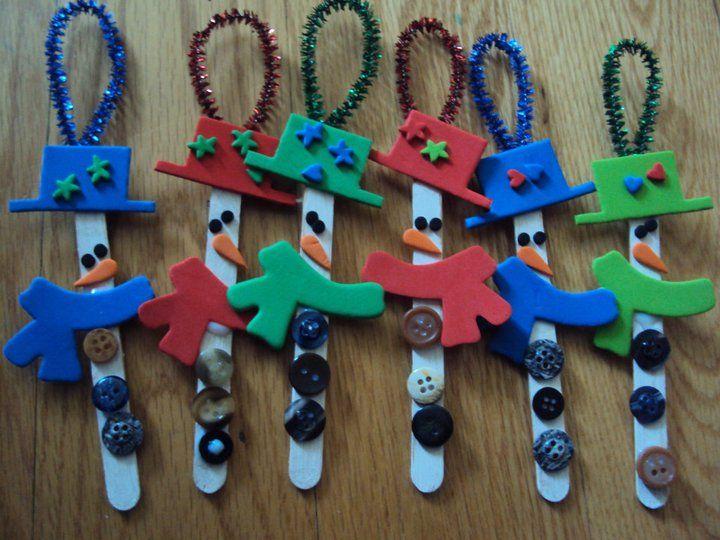 popsicle stick snowmans ornament