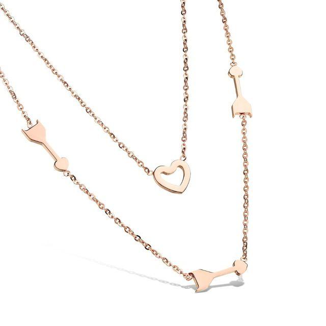 Розового золота ожерелья для женщин из нержавеющей стали ожерелье ювелирные изделия женщин сердца ожерелье двойной слой ювелирных изделий GX1006