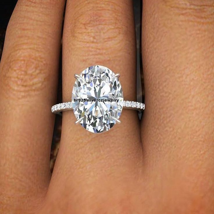 2 Ct Oval Cut Diamond Prong Set 14K White Gold Over 925 Silver Engagement Ring  #br925 #SolitairewithAccents