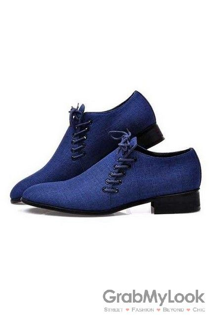GrabMyLook  Point Head Double Lace Up Royal Blue Mens Loafers Dress Shoes Flats