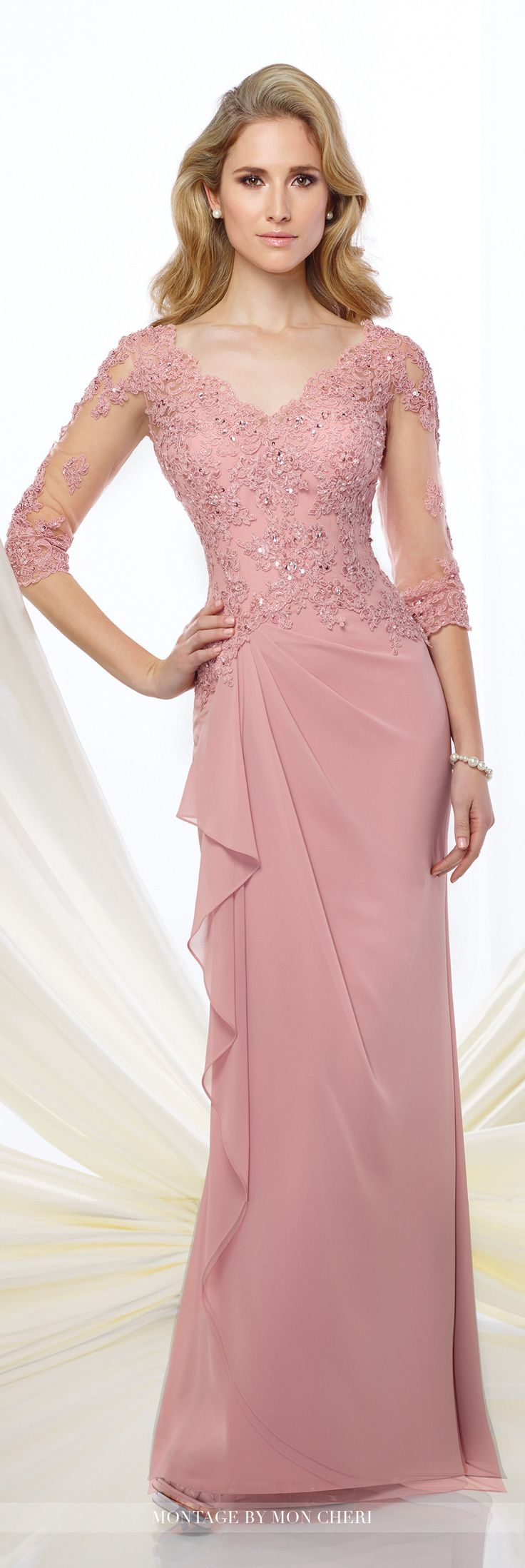 Montage by Mon Cheri - 216965 - Chiffon slim A-line gown with illusion and lace three-quarter length sleeves, front and back scalloped V-necklines, hand-beaded lace appliqué bodice, side gathered skirt with cascading ruffle.Sizes: 4 - 20, 16W - 26WColors: Steel Gray, Dusty Rose, Navy Blue