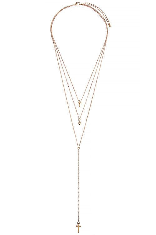 Celebrity Inspired Gold Cross Circle Pendant Three Layer Necklace