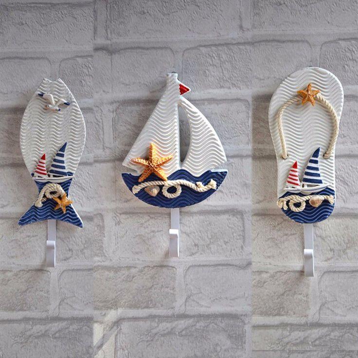 Средиземноморский стиль якоря рыба тапочки лодка в форме крючков гостиной висит украшение морской декор купить в магазине sweethome-sale на AliExpress