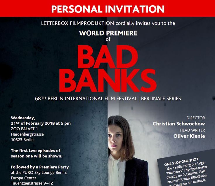 Delighted that the ZDF TV thriller #BADBANKS for which I was an adviser and appear in a cameo role, celebrates its world premiere at the Berlinale  International Film Festival! And endlessly disappointed I won't be able to attend. Thank you for so thoughtfully including me, though! #SuperHubs #networking #finance #nyse #wallstreet #business #motivation #inspiration #career #womeninbusiness #femaleceo #corporatewoman #power #influence #books #bestseller #NewYork #NY #NYC #Manhattan