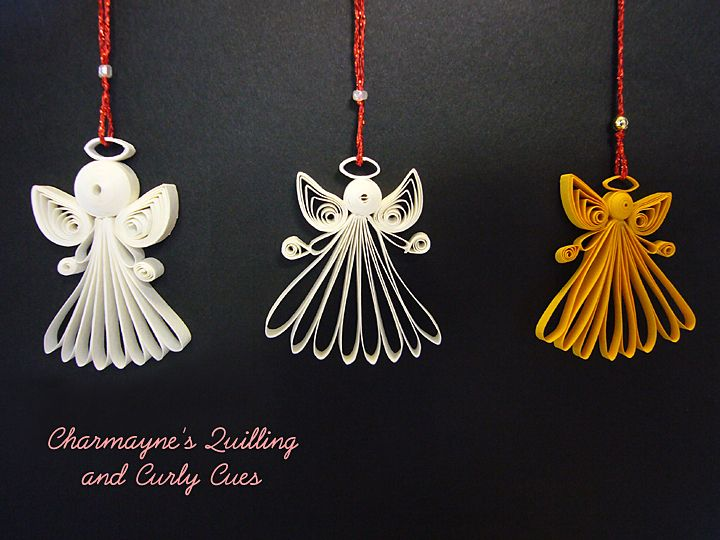 quilling angel | Right photo: This photo shows the front and back of 2 tiny…