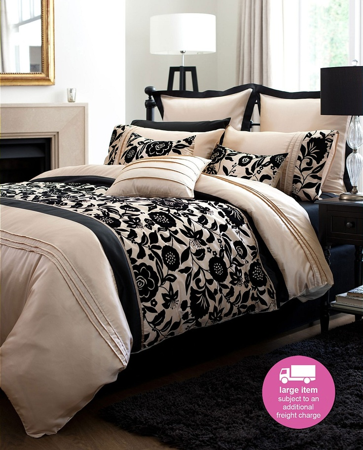 25 best images about bedding on pinterest for Black white taupe bedroom