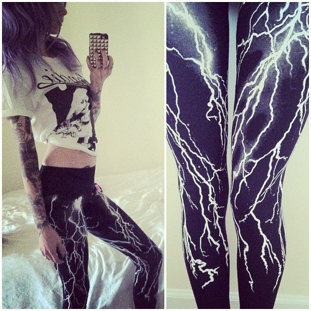 "Lightning leggings... kinda gives new meaning to the words ""Thunder thighs"", lol!"