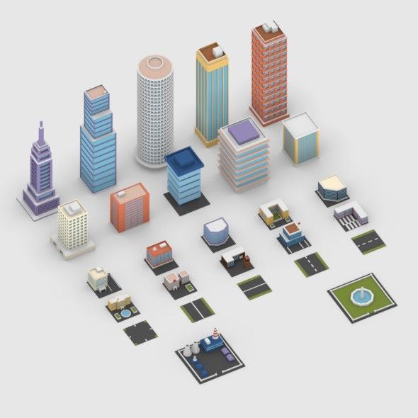 Low Poly City Buildings Pack  Editable 3D model of a house  #3D
