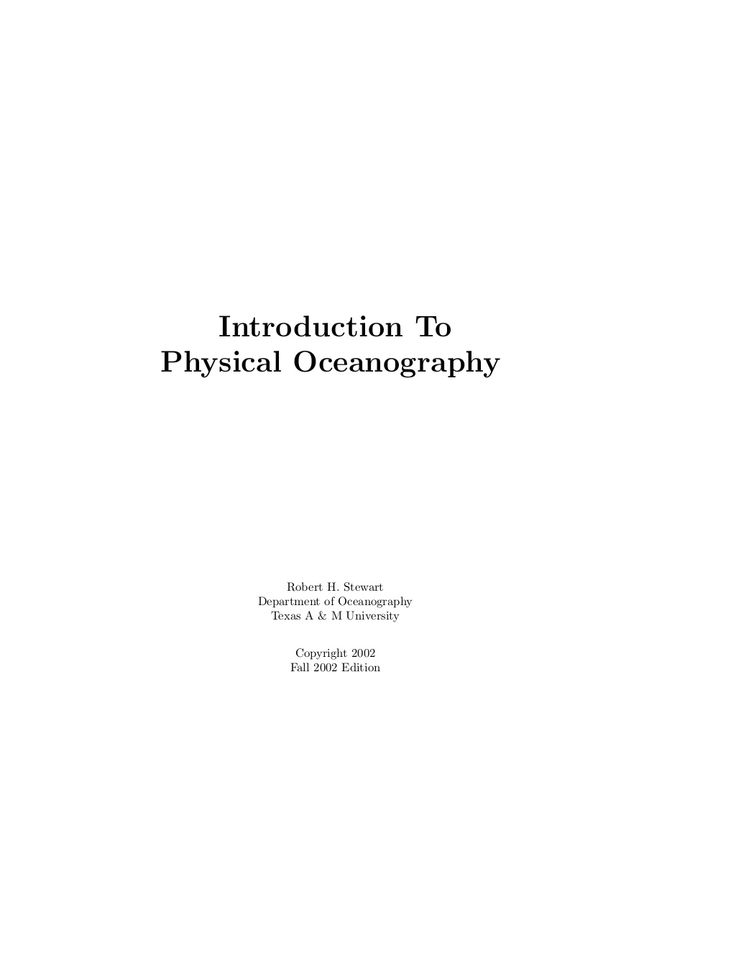 Introduction to physical oceanography by Ivan Vera Montenegro via slideshare