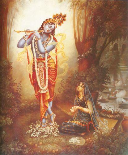 RADHA-KRSNA SUPEREXCELLENT  When Krsna left the arena of the rasa dance, He took Srimati Radharani with Him to a secluded corner of the Vrndavana forest. There She worshiped Him with great love and devotion. Meanwhile, as the gopis searched for Krsna in the forest, they suddenly came upon His footprints.