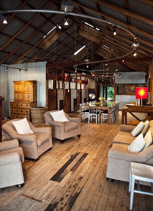 love: Barns Living, Games Rooms, Chic Furniture, Studios Spaces, Living Spaces, Track Lights, Apartment Living Rooms, Rustic Wood Floors, Lights Ideas