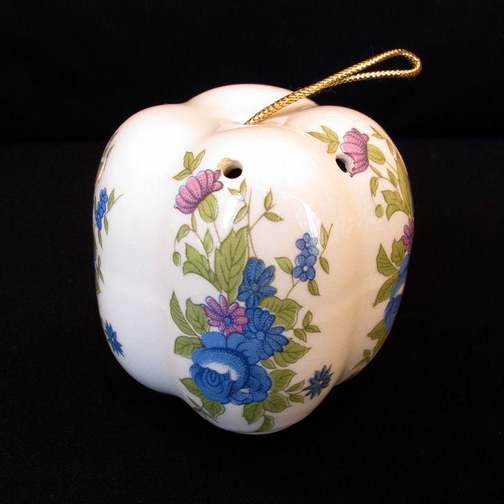 Vintage Porcelain Pumpkin Shaped  Pomander with Floral Pattern (blue and pink flowers) by ArtVintageCraftShop on Etsy