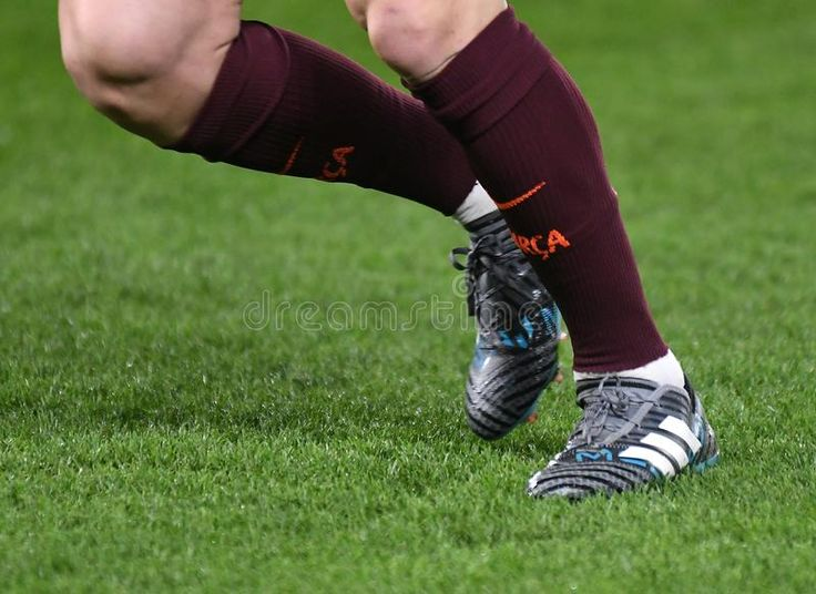 Lionel Messi boots. Football players pictured during the ...