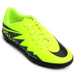 Chuteira Nike Hypervenom Phelon 2 TF Society Infantil - Verde Limão+Preto