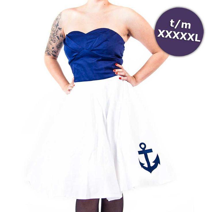 Melissa strapless sailor jurk met geborduurd anker blauw/wit - Vintage 50's Rockabilly retro