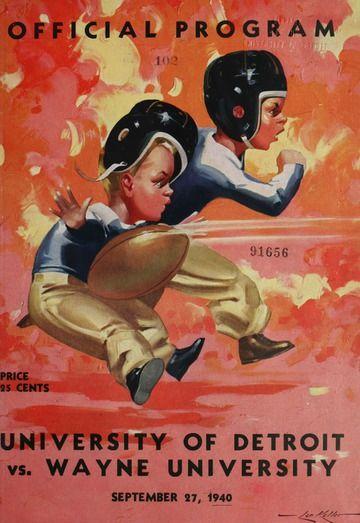 University of Detroit vs. Wayne University Program - University of Detroit Football Collection