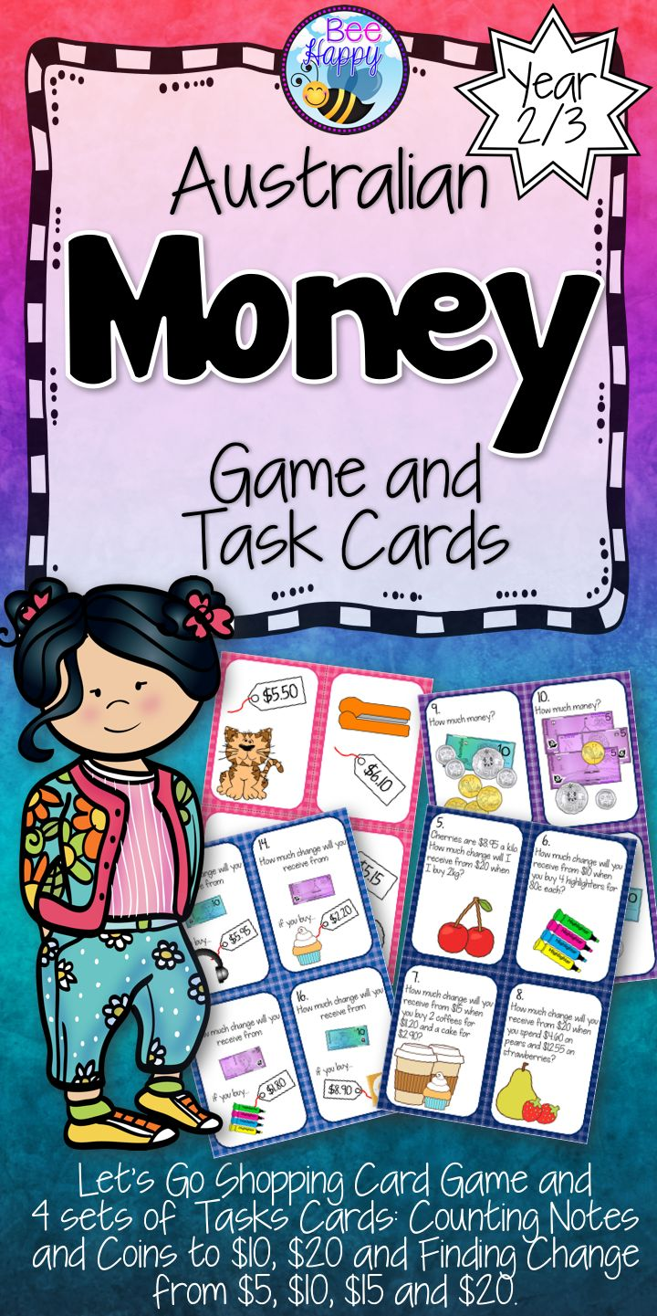 This Australian money pack has 49 pages of games and activities. Included in the package is a shopping game and four packs of task cards to play Scoot and Scavenger Hunt.