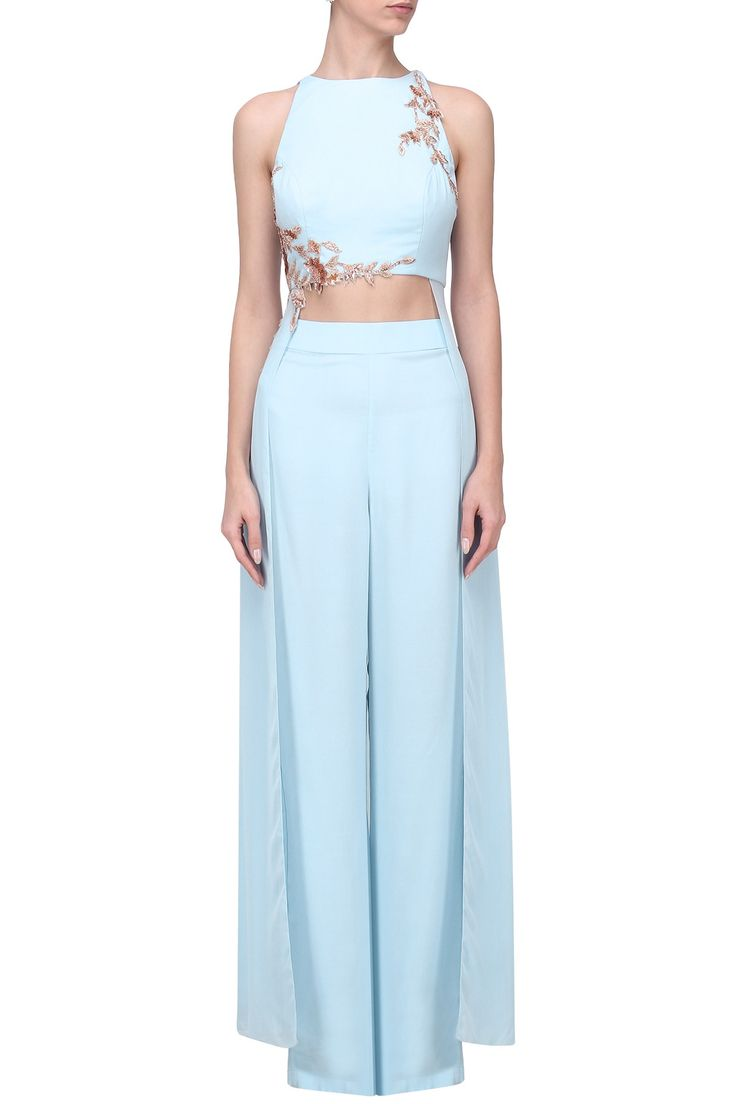 PINK PEACOCK COUTURE Powder Blue Embroidered Crop Top with Palazzo Pants Set. Shop Now! #pinkpeacockcouture #contemporary #indowestern #powderblue #jumpsuit #indianfashion #indiandesigners #perniaspopupshop #happyshopping