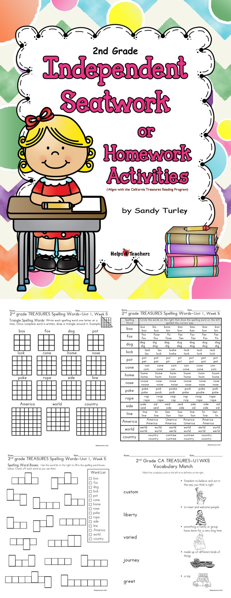 $ DYNAMITE!!  This E-book contains 289 pages of Spelling and Vocabulary printable activity sheets. (It is aligned with the 2nd grade California TREASURES reading curriculum.) It includes everything you need for the WHOLE YEAR!!  Includes spelling and vocabulary activity pages.  Found at: http://www.teacherspayteachers.com/Store/Helps4teachers