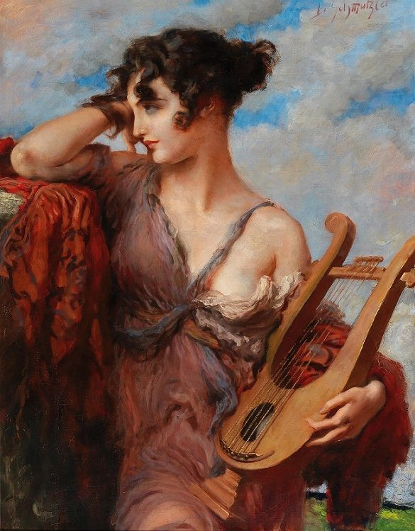 Leopold Schmutzler (Bohemian-born German, 1864-1940) - Woman with Lyre (Oil on canvas) - - By the turn of the century, Schmutzler had become one of the busiest portrait painters in Munich. He received important commissions from the Bavarian Royal Family, but also portrayed dancers and other popular performers. His style was generally realistic with Art-Deco elements. He always paid great attention to his subject's clothing. - Németh György