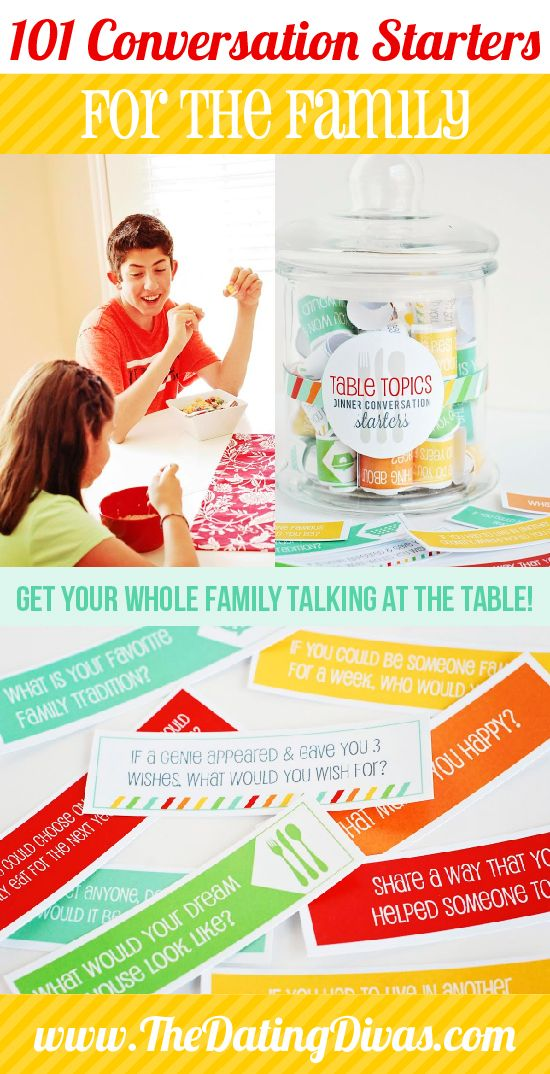 101 different prompts for family conversations at the dinner table! I love this idea! www.TheDatingDivas.com