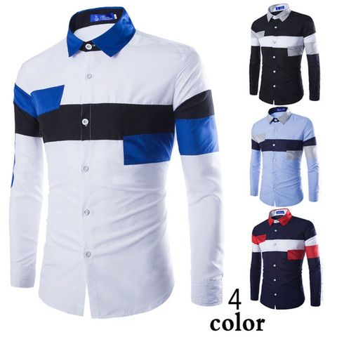 2016 European Striped Long Sleeve Dress Shirts – eDealRetail