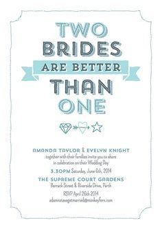 Lovely Lesbian Wedding Invitation   Google Search