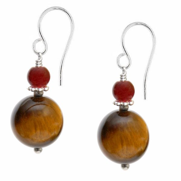 Remi Tigers Eye Gemstone Earrings - Sleek and sophisticated, Remi is a classic style drop earring with an exquisite dainty 4mm red agate stone combined with a rich chocolate 8mm Tiger's Eye gemstone.  This sterling silver design is full of warmth and glamour with perfect feminine curves.